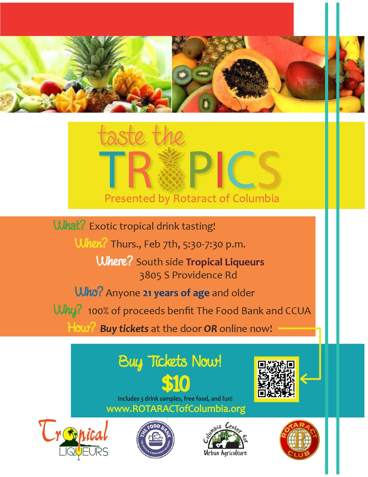 rotaract of columbia taste the tropics fundraiser rotary to the right is the flyer for our fundraiser taste the tropics please click it to enlarge the image we are raising fund for the food bank and columbia